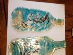 Paired with Martha Stewart glass paints. Baked at to set for dishwasher safe cleaning. Painted with brush and sponge on the back of the glass. Be careful to inspect the melted bottles. Any crack will increase in the over step. Melted Wine Bottles, Glass Bottles, Diy Craft Projects, Diy Crafts, Craft Ideas, Mosaic Glass, Glass Art, Melting Glass, Safe Cleaning Products