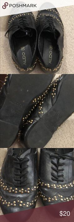 Black and gold Aldo shoes Worn once. Been sitting there for awhile. Found it under a pile of my shoes. Someone could put it to better use. Aldo Shoes Flats & Loafers