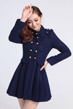 Blue Wool Jacket Women Coat women Jacket Autumn Winter