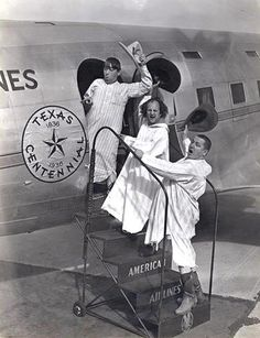 The Three Stooges arrive in Dallas for the Texas Centennial, 1936. This photograph comes from the collection of American Airlines' CR Smith Museum in Fort Worth.