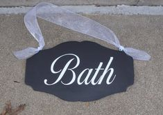 Bath Sign Powder Room Sign Wood Vinyl Scallop Design Restroom  www.heartfeltgiver.com Bathroom Door Sign, Bath Sign, Powder Room Signs, Restroom Design, Door Plaques, Wood Vinyl, Outdoor Signs, Grey Paint, White Vinyl