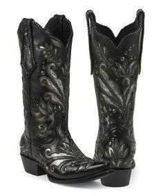 Black Zavala Snip Toe Leather Cowboy Boot by Black Star #zulilyfinds