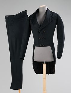The Suit. American design dating to 1830-1840. Made from wool, synthetic. Found at the Metropolitan Museum of Art.