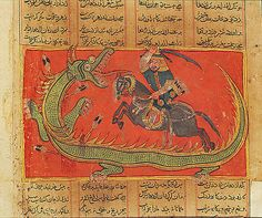 Gushtasp Slays the Dragon: Page from a Shahnama Manuscript, Master of the Jainesque Shahnama, Date: ca. 1425–50 Culture: India, possibly Malwa Medium: Ink and opaque watercolor on paper Dimensions: Page: 12 5/8 x 9 13/16 in. (32 x 25 cm) Image: 4 1/2 x 7 7/8 in. (11.5 x 20 cm) Classification: Painting Credit Line: Lent by Museum Rietberg Zürich, Gift of Barbara and Eberhard Fischer, Accession Number: SL.17.2011.38.5, Gift of Barbara and Eberhard Fischer