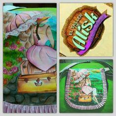 Bolso pintado a mano, con encaje y cinta