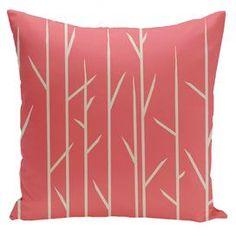 Floral Woven Polyester Throw Pillow