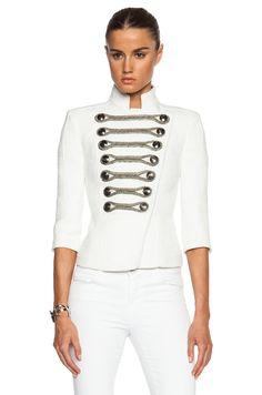 Pierre Balmain Military Jacket in White | FWRD