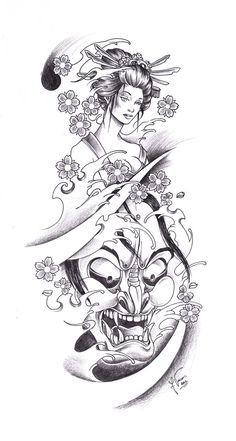 Geisha Tattoo Designs   Tattoo_Geisha_Oni by kauniitaunia on deviantART