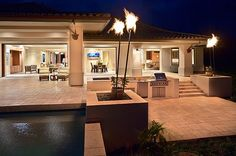 landscaping with torches outside area pool veranda lanterns