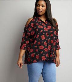 Curves Black Rose Print Cold Shoulder Shirt | New Look