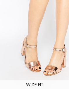 Image 1 ofASOS HOLLOWAY Wide Fit Heeled Sandals