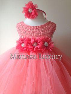 Coral melocotón flor chica, coral tutu vestido, vestido de Dama de honor, vestido de princesa coral, ganchillo top de tul, vestido de punto a mano