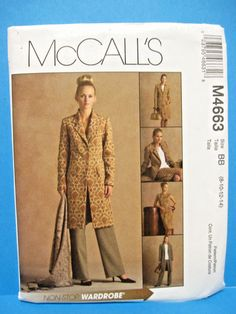 McCALL'S sewing pattern #4663 Lined WARDROBE Jacket/Top/Skirt/Pants 8-14 uncut #McCall