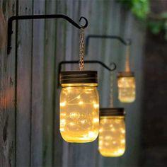 Solar Mason Jars, Mason Jar Lamp, Backyard Lighting, Outdoor Lighting, Outdoor Lantern, Lighting Ideas, Garden Lighting Diy, Solar Fairy Lights, Outdoor Fairy Lights
