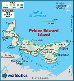Prince Edward Island is the smallest province in Canada as well as the most densely populated province people per square kilometer). It joined the Confederation in Pei Canada, Canada Trip, Canadian Travel, Island Map, St Lawrence, Prince Edward Island, New Brunswick, Hands On Activities, Nova Scotia