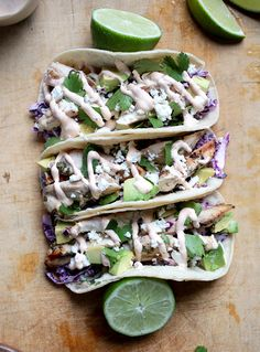 Cilantro Lime Chicken Tacos with Chipotle Crema