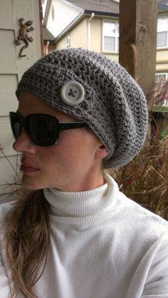 Beard Grey Woman's crocheted slouchy hat beanie