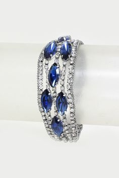 Crystal Sasha Bracelet in Sapphire on Emma Stine Limited $48
