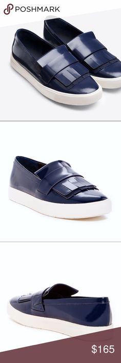 VINCE Blue Kilte Platform Sneakers S| 5. NWOB! The kiltie fringe loafer provides a reference point for this sleek, sporty sneaker. Glossy leather, exaggerated yet streamlined proportions and a platform sole lend this slip-on a thoroughly modern look. *Additional photos available upon request. Slip-on style.  Leather upper and lining/rubber sole.  By Vince; imported. Vince Shoes