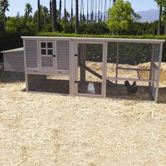 Features:  -Roomy interior provide safe and secure living space for several chickens.  -Houses up to 6 to 8 chickens.  -Solid wood construction.  Product Type: -Chicken Coop/House.  Finish: -Gray.  Fr