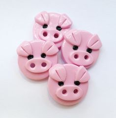 Cute on a pink blouse for school, P? - piggy polymer clay buttons