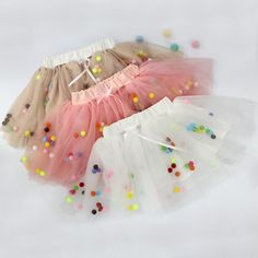 BabyPalace  wholesale new 2016 Girls summer fashion cotton pompom skirt toddler pom pom tulle tutu skirts wholesale