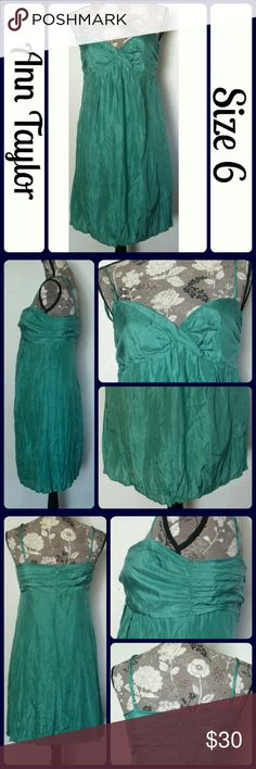 "Sz 6 Ann Taylor Habotan Crinkle Silk Dress nice sexy emerald seaform blue green crinkle dress by Ann Taylor. It features adjustable spaghetti straps and is fully lined in 100% cotton same color fabric. Extremely flattering fit.  ...No rips, snags, or stains. Measurements are take flat and unstretched, Bust-16"" across from underarm to underarm, Length- 27"" from underarm to bottom hem. From a smoke-free home (T157) Ann Taylor Dresses Midi"