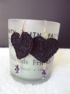 Heart Lace & Swarovski Crystal Earrings by mamabecca73 on Etsy, $9.95