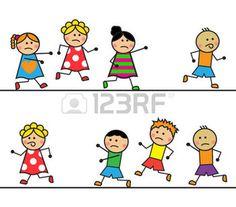 Ni�os de dibujos animados que se ejecutan despu�s de que el ni�o de la historieta de la muchacha corriendo detr�s de las ni�as photo