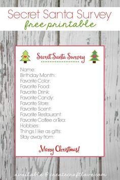 My Secret Santa Survey Printable will help you pick the perfect gift for the office gift exchange!
