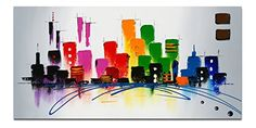 Wieco Art Color City Modern This is super fun and fstive.  Abstract Oil Paintings Artwork on Canvas Wall Art Home Decoration