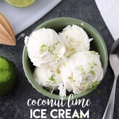 no churn Easy Coconut Lime Ice Cream is creamy, sweet, tangy, and perfectly tropical. Add soda for an amazing ice cream float! No ice cream maker needed! Lime Ice Cream, Pistachio Ice Cream, Ice Cream Floats, No Churn Ice Cream, Keto Ice Cream, Coconut Ice Cream, Healthy Ice Cream, Ice Cream Maker, Homemade Ice Cream