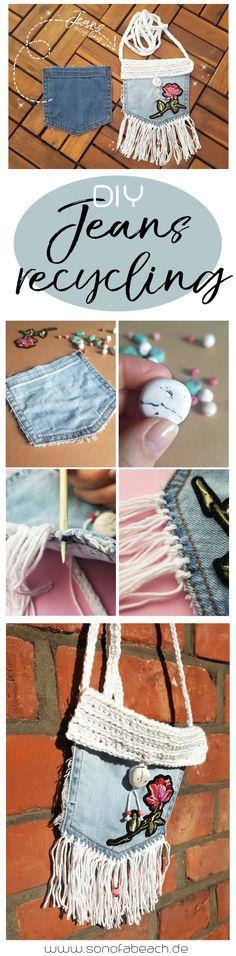 In diesem Jeans recycling DIY zeige ich dir, wie du aus einer alten Jeanshose ganz einfach eine coole Umhängetasche nähen kannst. Du kannst die Tasche auch komplett ohne Nähmaschine nähen. Die Tasche ist so einfach zu basteln, dass man sie auch ohne Schnittmuster und als Anfänger herstellen kann. Die süße Tasche eignet sich auch wunderbar als selbstgemachtes Geschenk zum Geburtstag oder als selbstgemachtes Weihnachtsgeschenk für die Schwester oder Freundin. Die Anleitung findest du hier