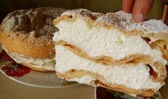 """A recept legnehezebb része ez """"egy órára a hűtőbe tenni"""". Hungarian Recipes, Bagel, Sweet Recipes, Sweet Tooth, Sandwiches, Cheesecake, Food And Drink, Bread, Cooking"""