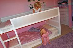 IKEA Kura Bunk Beds Hack (this is usually unfinished wood and bright blue panels).  Would love to do it in neutrals for a girl/boy shared room.