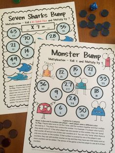 FREEBIE - These math bump games are 2 player games for multiplication facts. Multiplication Bump Games Freebie from Games 4 Learning