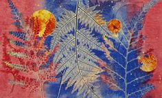 Sandra Pearce -- I had a small class of 4 students - Kylie, Robyn, Denise and Wendy, plus Morag for one day of gelli plate printing. Kylie's Fern print - beautiful lines and colours. The detail of the middle fern is 3-dimensional and together with the rich colours, it gives the print its WOW factor.