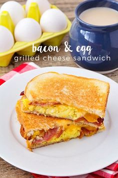 These deliciously crisp and melty bacon and egg grilled cheese sandwiches are the perfect breakfast for a cold morning! These deliciously crisp and melty bacon and egg grilled cheese sandwiches are the perfect breakfast for a cold morning! Breakfast Appetizers, Breakfast Sandwich Recipes, Breakfast Desayunos, Perfect Breakfast, Breakfast Dishes, Brunch Recipes, Bacon Sandwich Recipes, Bacon And Egg Breakfast, Breakfast Ideas With Eggs