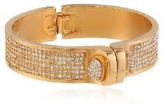"KARA by Kara Ross Pave Baby Shirt, Gold with Crystals Cuff Bracelet, 2.5"""
