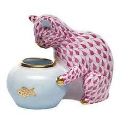 """Herend Hand Painted Porcelain Figurine """"Gone"""" Fishing"""" Raspberry Fishnet Gold Accents."""