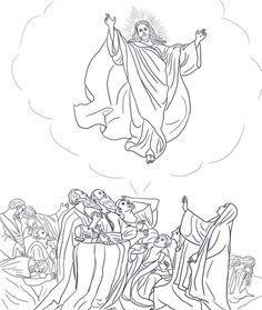 Acts1:3-11; Jesus Ascended to Heaven; Jesus Ascends to Heaven Coloring Page