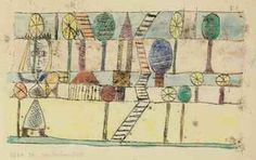 Paul Klee 1920 'Die Dorfverruckte' (The Lunatic Village or A Village for Lunatics[my own attempt at translation g.s.]) watercolor over oil transfer on paper