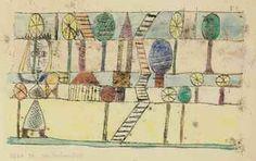 Paul Klee 1920 'Die Dorfverruckte' watercolor over oil transfer on paper