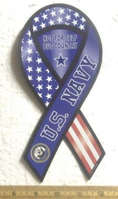 U.S. Navy – Not For Self but Country - 2 in 1 Magnetic Ribbon
