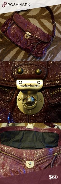 Hayden Harnett Violet Crinkle Lorca In excellent,  clean condition.  Only flaw is clasp came off.   Can't secure closed,  bit stool functions with a few truly necessary items I this gem of a bag!  Truly gorgeous and in terrific shape! Hayden Harnett Bags