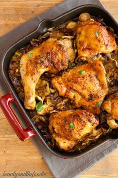 Chicken Bacon Cabbage Skillet - thyme, paprika, garlic powder, onion powder, sea salt, black pepper, whole cut up chicken, cabbage, bacon, parsnip, onion, garlic cloves, chicken broth