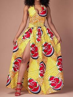 Halter V Neck Sleeveless Backless High Slit Printed Maxi Dress at Diyanu Ankara Short Gown Styles, Trendy Ankara Styles, Ankara Gowns, Maxi Gowns, Casual Styles, African Fashion Dresses, African Dress, African Clothes, African Attire
