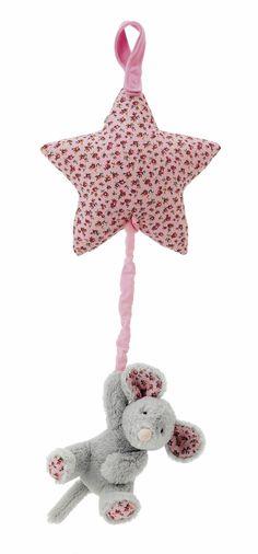 Little Jellycat BAMS4MG Blossom Bashful Grey Mouse Star Musical Pull - Blue Danube