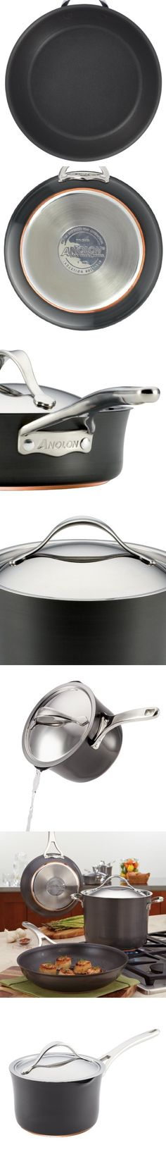 Anolon 83527  Nouvelle Copper Hard Anodized Nonstick Covered Straining Saucepan, 3.5-Quart