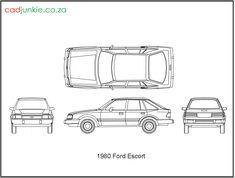 2D Vehicles: Ford Escort 1980 CAD Format: AutoCAD 2013  Block Type: 4x2D Block  Units: mm 2003 Range Rover, Alfa Romeo 159, Ford Escort, 2d, Cad Blocks, The Unit, Autocad, Vehicles, Type